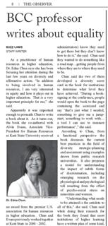 Read about Dr. Chun on page 8 of BBC's Obeserver